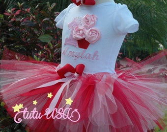 1st Birthday Girl Outfit,Pink and Red One Year Old Girl Birthday Outfit,First Birthday Girl, 1 Year Old Birthday Girl, Pink and Red Tutu Set