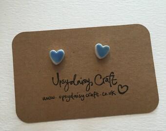 Ceramic heart stud earrings - Small - Blue