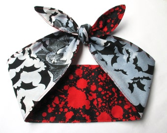 "Reversible WIDE 4"" Blood Splatter Stains bats bat print pinup goth Head scarf Headband Pinup Psychobilly Rockabilly Horror Bloody Bow"