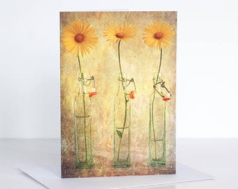 Photo greeting card, Floral greeting card, Flower greeting card, Yellow flower  Greeting Card, Blank card,  photographic card, photo