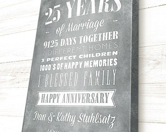 25th Anniversary, Anniversary Gift, Personalized, Gift for Parents, Custom Canvas Gallery Wrap, 25 Year Anniversary