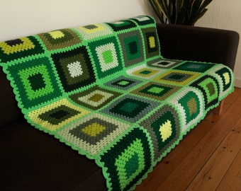 Crochet Blanket Afghan Blanket Granny Squares Blanket Green Blanket Throw For Couch Cozy Blanket READY TO SHIP