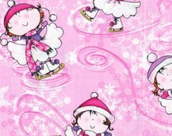 Half Yard Winter Novelties - Ice Princess in Pink with Metallic Accents - Cotton Quilt Fabric - Benartex Fabrics - 5620G-01 (W3477)