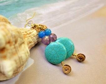 Boho Earrings Turquoise Earrings Ethnic Jewelry Tribal Earrings Beach Earrings Dangle Earrings Yoga Earrings Amethyst Earrings