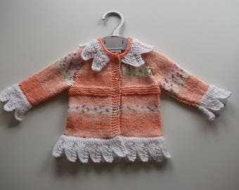 Girls/baby hand knitted lacy edge cardigan/jacket