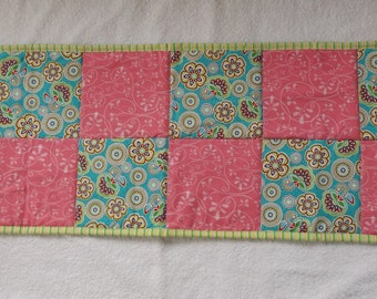 Handmade Quilted Patchwork Spring Florals Table Topper, Mini Wall Hanging, Centerpiece Mat, Pink, Aqua and Green