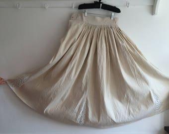 Vintage Natural Linen Circle Skirt with Open Threadwork Seams