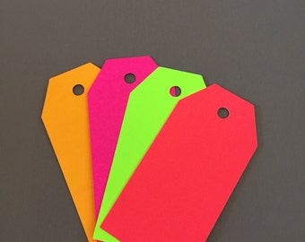 30 Neon Parcel Tags Assorted