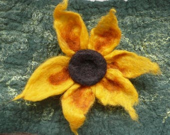 Hand felted yellow flower pin brooch
