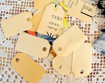 Medium Tags Made From Vintage Children's Workbook