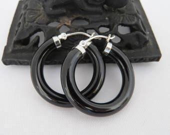 Vintage Sterling Silver Natural Black Onyx Hoop Earrings