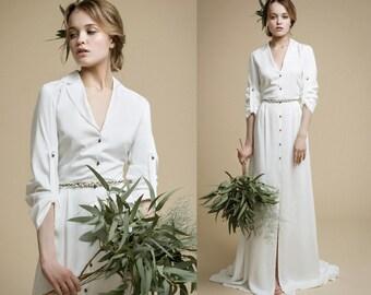 ERIKA / wedding gown stylish wedding dress straight wedding dress with long sleeves silk ivory dress simple weddding gown, Victoria Spirina