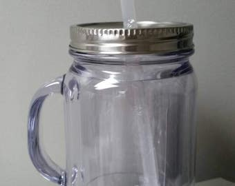 Clear Blank 18 oz BPA free Plastic Mason Jar with lid and straw. Makes great party favors,Bachorlette gift, Christmas Gift