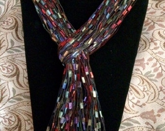 Scarf Gem Stone Blue Red Green Yellow scarves ladder yarn trellis ribbon knotted