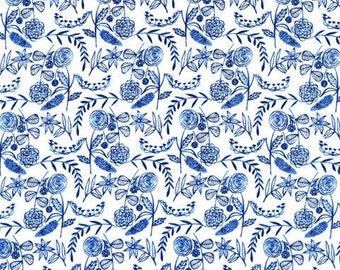 Organic cotton voile fabric (free doestic ship) Cloud 9 Fabrics Moody Blues floral  blue and white floral fabric