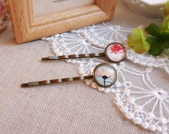 Floral cabochon hair pins A set of two bobby pins spring and summer hair accessory