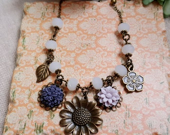 Floral charms necklace Vintage inspired necklace White crystal glass purple flower Flower pendant
