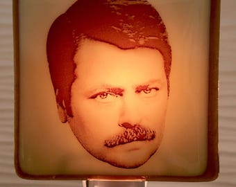 Ron Swanson Night Light Fused Glass