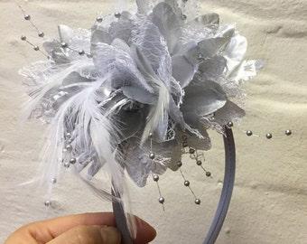 Silver Fascinator Headband Hair Band Flower Corsage
