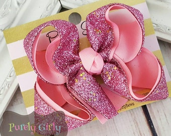 Pink Glitter Hairbow Pink Bow Small Medium Pink Hair Bow