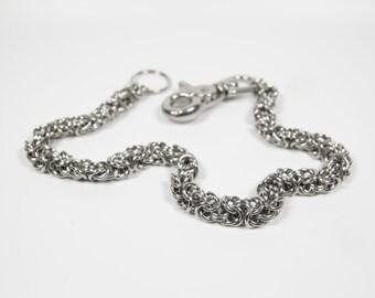 Byzantine Wallet Chain, Stainless Steel, Chainmaille Biker Wallet Chain, Chainmail Chain, Trouser Chain, Biker Chain Belt, Swivel Clasp