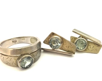 Vintage Excellent Set Ring Earrings Solid 925 Silver Hydrothermal Green Russia Spinel Good Condition