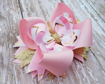 Pink White Gold Hairbow - Birthday Hair Bow - OTT Over the top Hairbows - Boutique Hair Bows - First One Second Two Easter Valentine Clip
