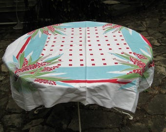 Red, aqua, lime green square tablecloth, palm leaves tablecloth, red floral check tablecloth, 50 x 50 inches, mid century