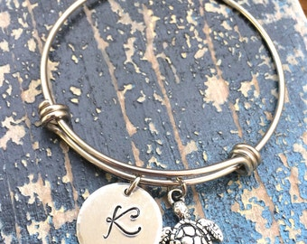 Bracelet With initial and Turtle Charm