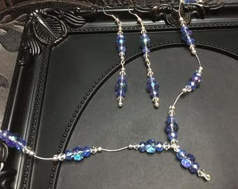 Blue Crystal Necklace Set, Something Blue, Gift For Her, Floating Necklace, Crystal Earrings, Bridal Set, Blue Crystal Earrings, OOAK, Gifts