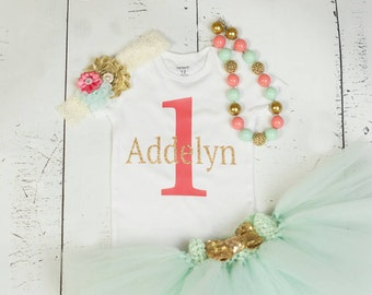 PERSONALIZED FIRST BIRTHDAY Baby Girl Tutu Outfit,Mint Coral Gold 1 with Name 1st Birthday Cake Smash Photo Bodysuit,Headband,Necklace