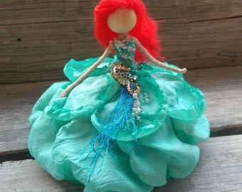 Ariel Bendy Doll ~  Mermaid Starfish Fairy ~  Rose Princess ~ Waldorf Flower Doll Sea Enchanted ~ Special Edition