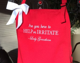 Downton Abbey inspired Personalized Apron/ Violet Crawley/Mother's Day Gift/Mom/Sister/Friend/Teacher  Embroidered in your choice of colors.