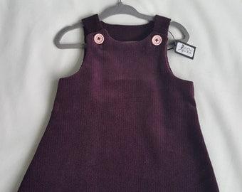 Baby Dress, Toddler Dress, Corduroy Dress, 9-12 Months Dress Plum Purple