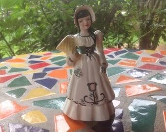 Vintage Florence Ceramics hand painted Suzette Dutch girl figurine vase- Pasadena, California.