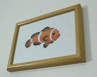 Vintage Clownfish Cross Stitch Needlework Framed Picture, Tropical Fish