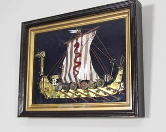 Vintage Framed Assemblage Art Viking Ship Picture, OOAK Trinket Picture, Shadow Box
