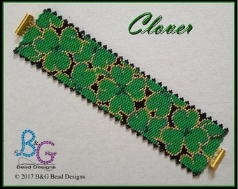 CLOVER Peyote Cuff Bracelet Pattern