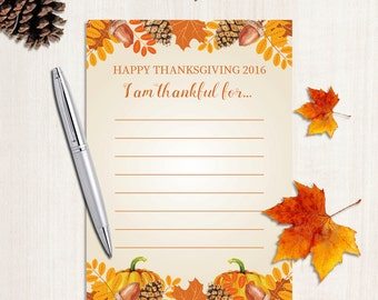 """Thanksgiving Printable Decor - Cards Signs 5x7 """"I am thankful for"""" Party Decor Thanksgiving Dinner 