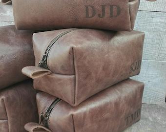 Large Dopp Kit, Christmas Gift, Men's dopp kit, Travel Bag, Antique Effect, Free Personalized, Leather Dopp Kit, Shaving kit