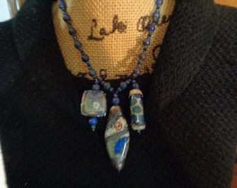 Venetian Art Glass Lapis Lazuli Tribal Beads Pendants Necklace Bohemian Hippy Beachy