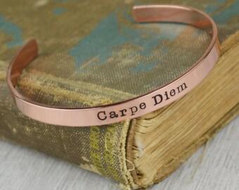 Carpe Diem Cuff Bracelet // Handstamped Jewelry