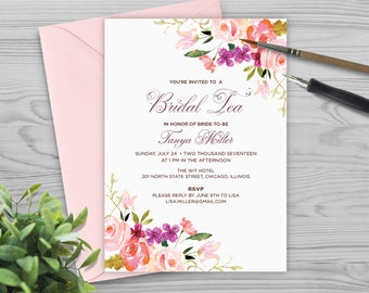Bridal Shower Invitation - Bridal Tea Invitation - Printable Shower Invitation - Wedding Invitation - Watercolor Flowers - PW1712