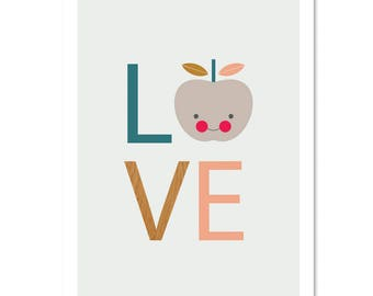 Love Apple Print. Kids Wall Art, Nursery Art, Nursery decor, Apple print, Modern kids Wall Art, Kids room art.
