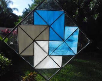 Blue Quilt Square in Stained Glass
