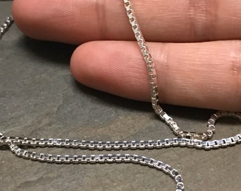 "20"", 2mm, Vintage sterling silver necklace, Italy 925 silver box chain, stamped 925 Italy"