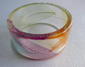 Resin Bracelet. Brightly Coloured Skeleton Leaves With Micro Fine Glitter.
