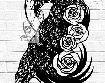 Commercial & Personal Use - Raven DIY Paper Cut Template Cutting DIY Bird Gothic Crow Roses Wildchild Designs Nevermore Edgar Allan Poe