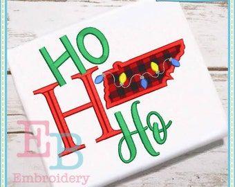 Ho Ho Ho Tennessee Applique - This design is to be used on an embroidery machine. Instant Download