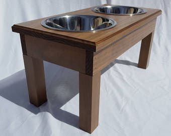 """Elevated Dog Feeder w/Stainless Steel 2 Quart Bowls, 10"""" Tall"""